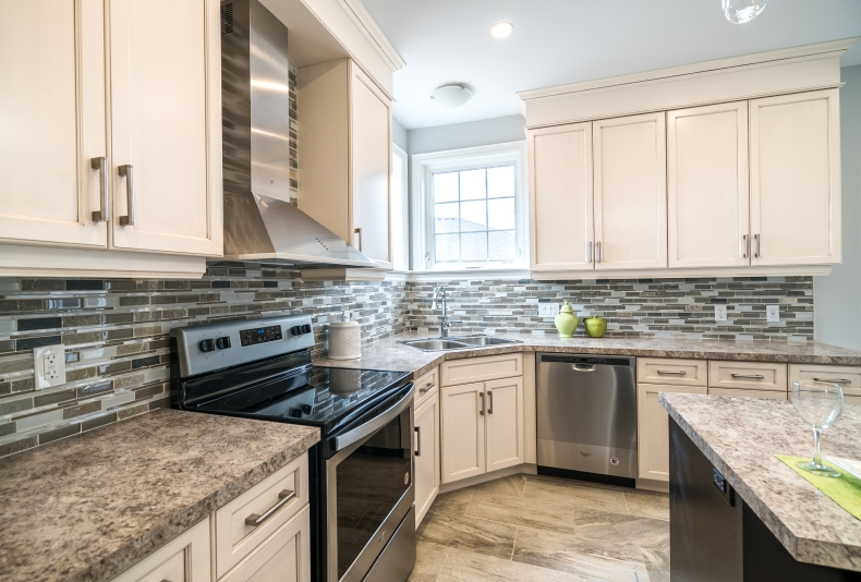 spacious kitchen staged to sell